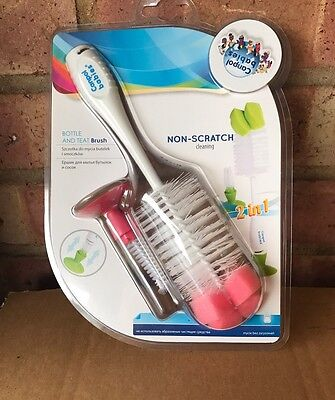 New Canpol Babies Bottle And Teat Brush Non-Skratch Cleaning Pink