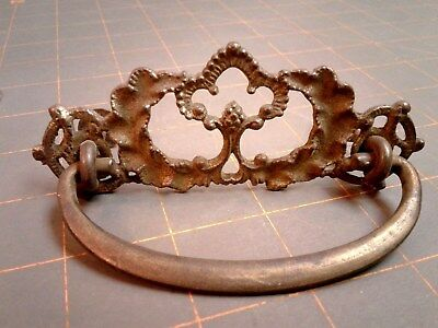 Victorian Fancy Drawer Pull Cast Brass Steel Bail w Posts and Nuts 1910 ERA