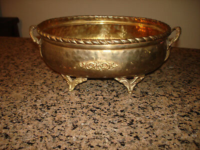 LARGE Vtg Brass  Hand Hammed Planter POT Tub Elephant Head Handles 11x7x5