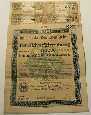 Germany 1922 Treasury Bond Un cancelled with Coupons 100 000 Mark #G8282