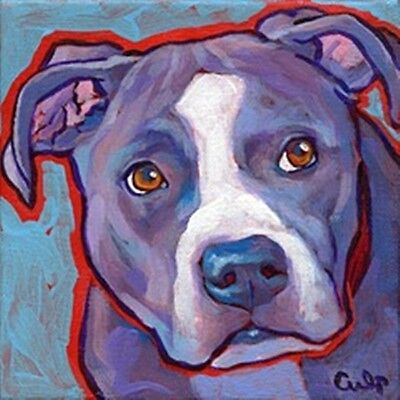 Blue Nose with White Pit Bull Print 8x10 by Lynn Culp (LC003P14) - Free Shipping
