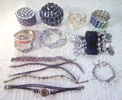 Lot of 14 unique bracelets. Stretch, cuff, hinge, chain, leather, bead, toggle +