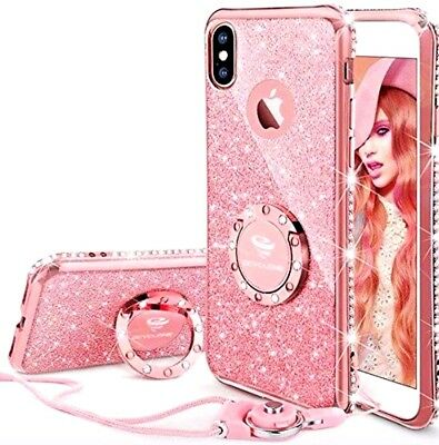 BEST SELLING!!  iPhone X Case, ROSE GOLD, Glitter, Kickstand Ring, Sparkly Gems,