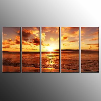 FRAMED Large Canvas Art Print Seaside Sunset Wall Art Canvas Oil Painting-5pcs