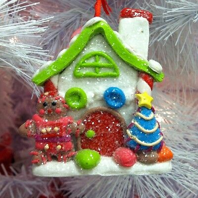gingerbread girl house w gumdrop christmas tree ornament iced candy roof