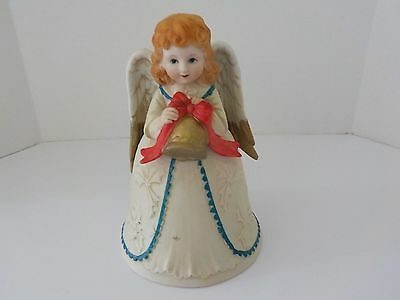Christmas Angel Bell Homco Ceramic 5105 Figurine
