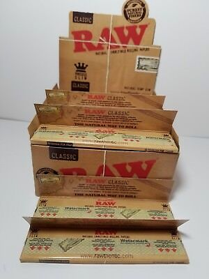 AUTHENTIC Raw Classic King Size Slim Rolling Paper Full Box Of 50 Packs  RAW