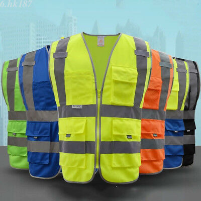 1xHigh Safety Security Visibility Reflective Vest Construction Traffic Warehouse