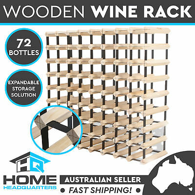 New Set of 72 Timber Wine Rack Bottle Wooden Metal Natural Wood Cellar Organiser