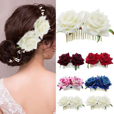 Hair Jewelry Red Rose Hairpin Bridal Flower Hair Comb Wedding Accessories