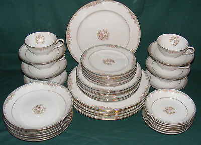 42 Pc Kyoto Dinner Set ALYCE Plates, Bowls, C&S - Place Setting for 6 - VGC
