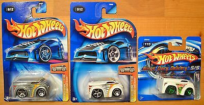 Hot Wheels Blings Dairy Delivery x3, 2004 First Edition ZAMAC & White, 2005 115