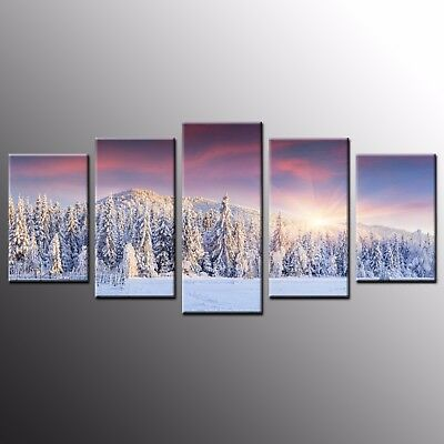 Landscape Canvas Prints Snow Frozen Forest Wall Art Canvas Painting Picture-5pcs