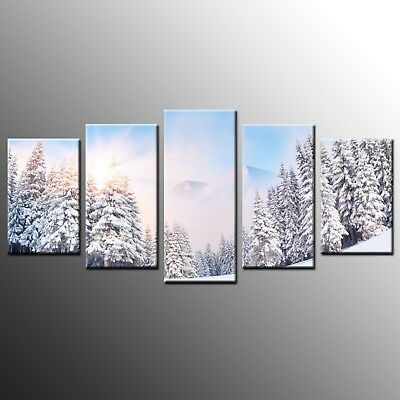 Canvas Print Landscape Wall Art Canvas Painting Poster Snowy Forest-5pcs