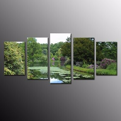 Wall Art Home Decor Green Water Scenery Canvas Print Art Painting Picture-5pcs