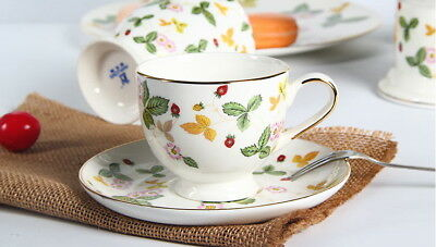 Breakfast Afternoon Tea Set/  Cup And Saucer/ strawberry Pattern/ AU STOCK