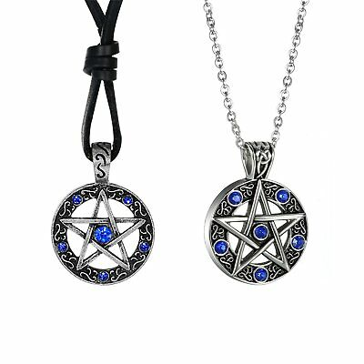 2pcs Men's Supernatural Protection Necklace Pentagram Rhinestone Pendant Chain