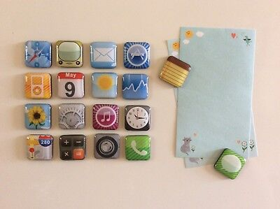 18Pcs/Set Phone App Logo Fridge Refrigerator Magnets Sticker Notes Holder Decor
