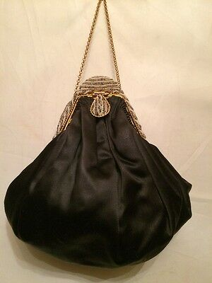 Rare! Antique French Black Satin w Beaded Frame Evening UNUSUAL Flapper Purse