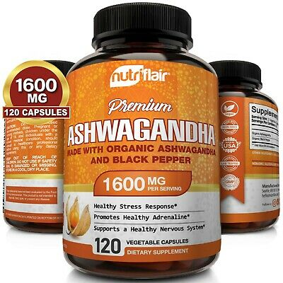 Ashwagandha Root Powder with Black Pepper Extract 1300mg, 120 Vegetable Capsules