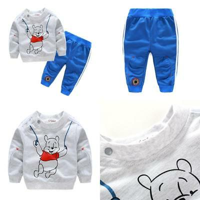 Boy Kids Toddler Baby Long Top Hoody+Pants Trousers Set Tracksuits Clothes Bear
