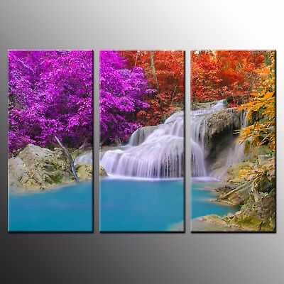 Large Canvas Print Colorful Waterfall Room Wall Art Decor Printed Painting-3pcs