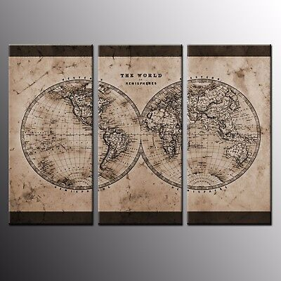 HD Canvas Prints Art World Map Prints Canvas Wall Art Oil Painting Print-3pcs