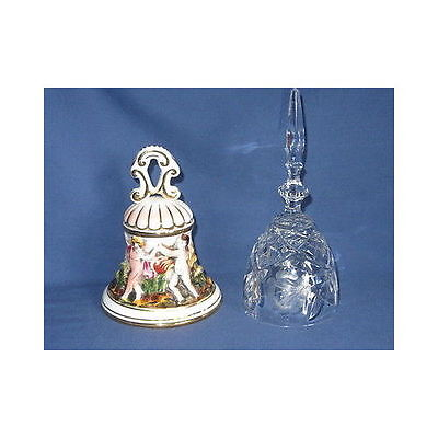 Lot of 2 Vtg BELLS Capodimonte Italy Cherub & Etched Clear Glass Floral Bell