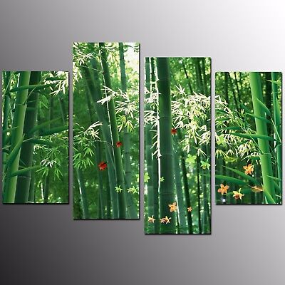 HD Canvas Art Prints Green Bamboo PicturWall Art Canvas Painting Prints-4pcs