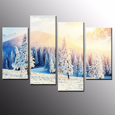 Landscape Photo Canvas Print Wall Art Canvas Painting Frozen Forest-4pcs