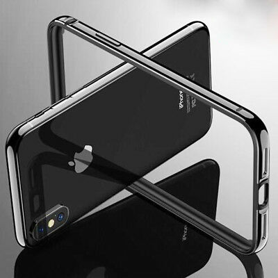 For Apple iPhone X 8 Plus Aluminum Metal Hybrid Rugged Rubber Case Cover Bumper