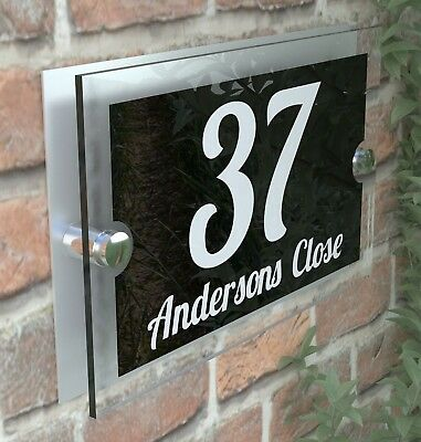 Modern House Sign Plaques Door Number Acrylic Personalised Name Plate PAR1WB