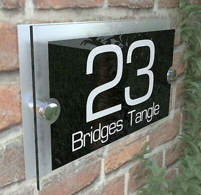 Modern House Sign Plaques Door Number Acrylic Personalised Name Plate PAR8WB