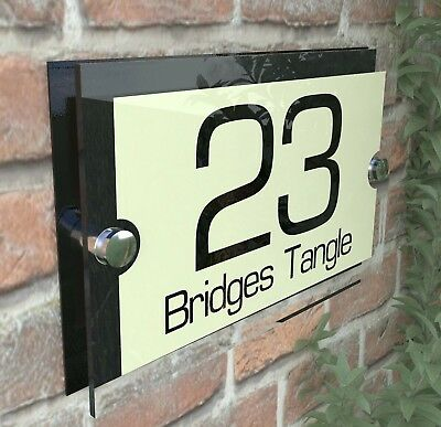 Acrylic Cream & Black House Signs Plaques Door Numbers Name Plate Plaque Par8BC