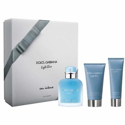 Dolce & Gabbana Light Blue Intense Homme Eau De Parfum Spray 100ml Set 3 Par