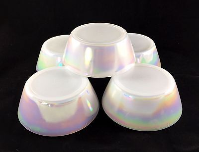 Vintage 5 Federal Bowls Moonglow Opalescent Iridescent White Luster USA Gift