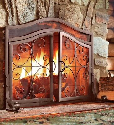 Fireplace Screen with Doors Solid Wrought Iron Frame with Metal Mesh Guard Cover