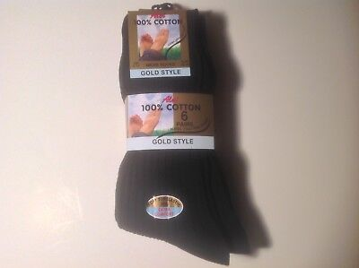 12 Pairs Men/Boys Aler Gold Style 100% Cotton Ribbed Socks, UK Size 6-11