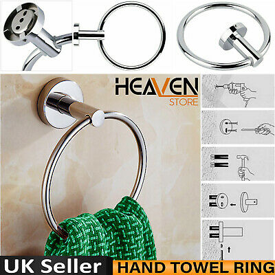 Luxury Chrome Round Hand Towel Ring Holder Wall Mounted For Kitchen Bathroom Uk