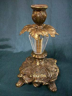 Vintage Ornate Crystal Center Candlestick Holder Metal Cast