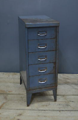 Vintage Industrial Metal 5 Drawer Filing Cabinet Storage