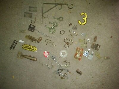 Lot of hardware - flagpole/rope/hangers/latches and more
