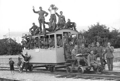 WWII German soldiers trolley Invasion of Poland 1939 WW2 photo photograph 4x6