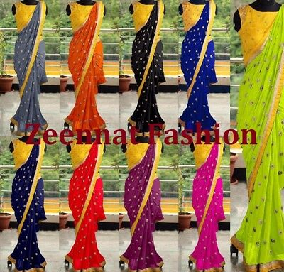 Saree Indian craft Sari Bollywood Style Pakistani color Georgette Party Wear 1