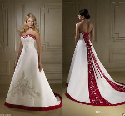 PLUS SIZE WHITE/RED Beading Embroidery Wedding Dresses ...