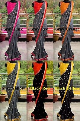 Saree Indian craft Sari Bollywood Style Pakistani color Georgette Party Wear 2
