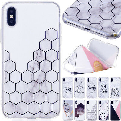 Ultra Slim Marble Pattern Rubber Soft TPU Case Cover For Sony Samsung iPhone X