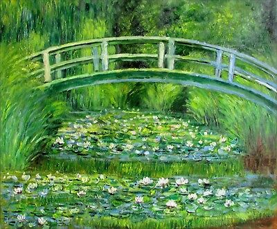 Monet Bridge over Water Lily Pond Repro, Hand Painted Oil Painting, 20x24in