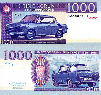 CZECHOSLOVAKIA 1000 Korun Fun-Fantasy Note 2017 Private Issue Skoda Car banknote