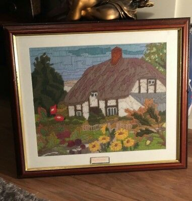 Handmade embroidered Autumn picture, interior decor, wall hanging.Framed Picture